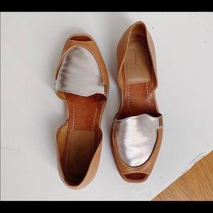 Rachel Comey leather peep-toe Flats w/ silver top